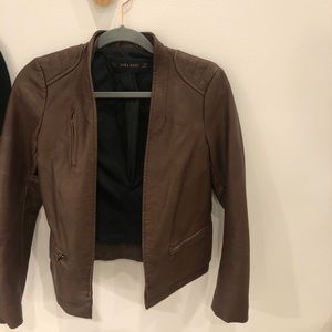 BROWN ZARA FAUX LEATHER JACKET (SIZE SMALL)